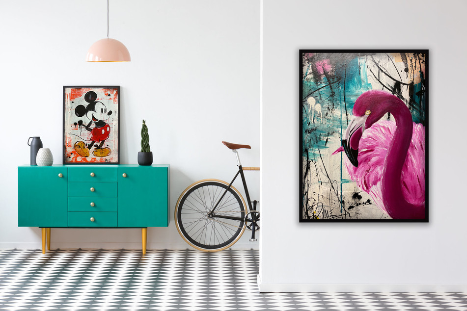 BE HAPPY, 70x50cm and SUMMER VIBE, 94x65cm