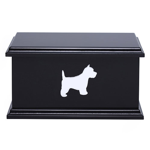 White Dog Silhouette Pet Ashes Box (breed specific)