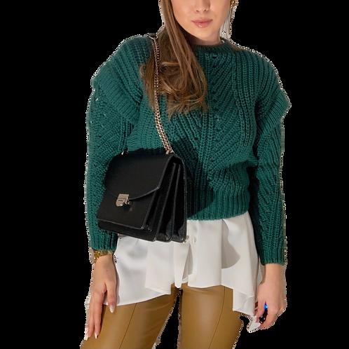 Úpletový sveter kratší - smaragdový