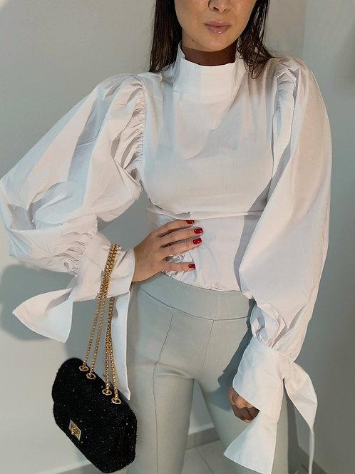 Košeľa s balónovým rukávom - biela