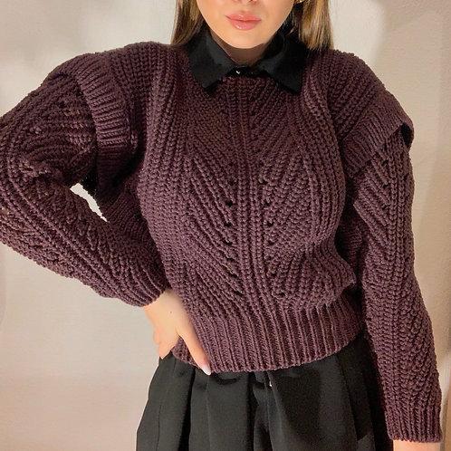 Úpletový sveter kratší - bordo