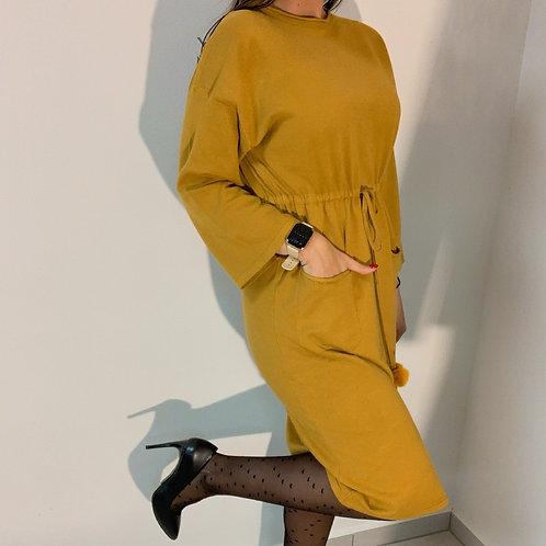 Úpletové šaty s vreckami UNI  - horčicové