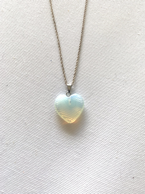 Opal Heart Necklace for Healing