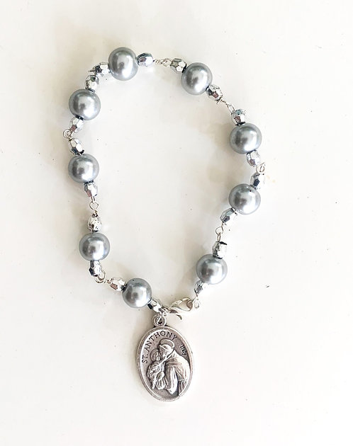 St. Anthony Silver Crystal Bracelet
