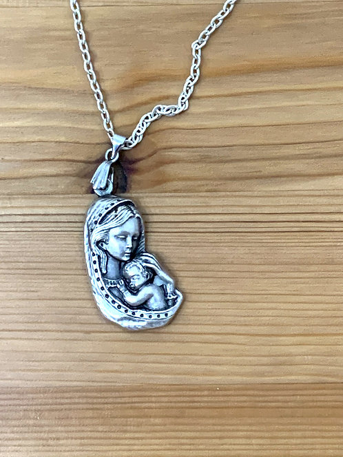 Blessed Mother Heart Necklace