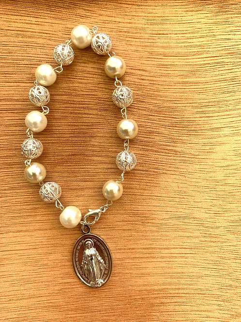 Our Lady Of The Miraculous Medal Crystal Silver Bracelet