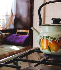 Wasserkocher auf Gasherd