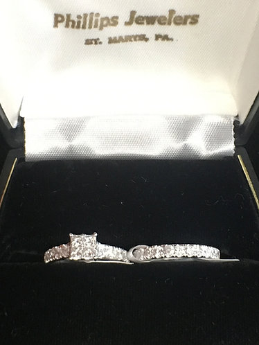 Four Princess Cut Diamond Engagement Ring and Matching Band