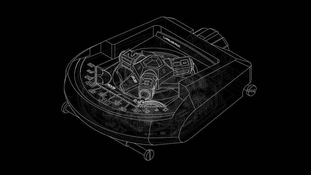 Urwerk Ur202 solidworks CAD blueprint