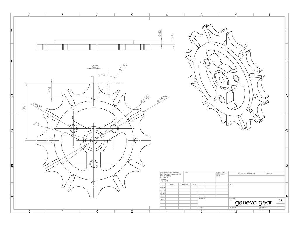 geneva gear solidworks CAD