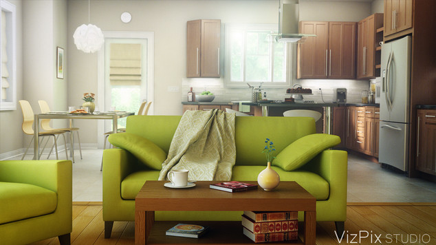 3D Living Room and Kitchen Rendering