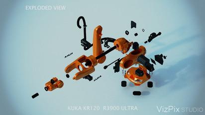3D Kuka Robot Exploded View Still