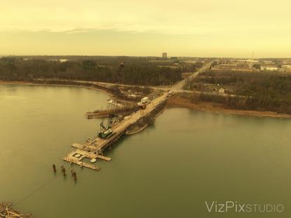 Drone Shot of Bridge Construction