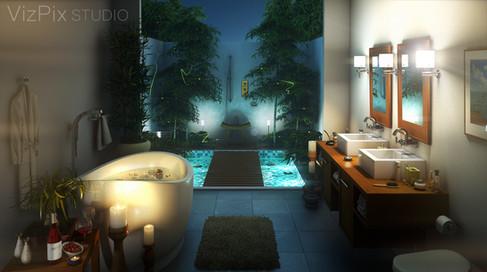 Nighttime Rendering Outdoor Bathroom