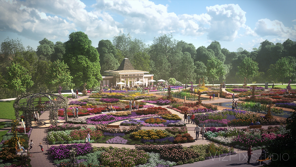 3D landscape rendering of gazebo and rose garden located in Hamilton Ontario