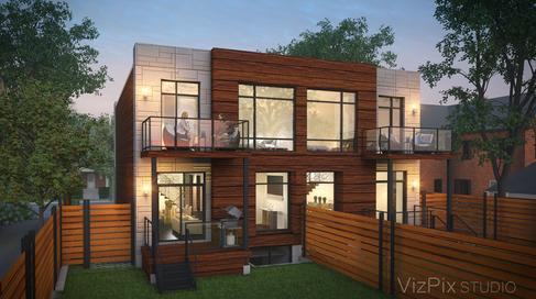 Highcroft Townhouses Visualization Dusk Render