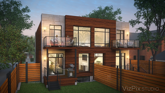Highcroft Townhouses Visualization Dusk Render