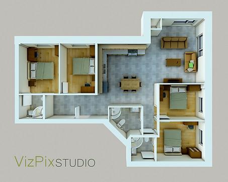 Dollhouse Style 3D Plan Rendering