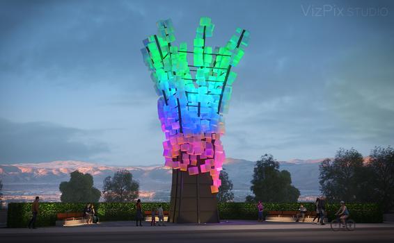 Squared Statue Neon Line District Visualization