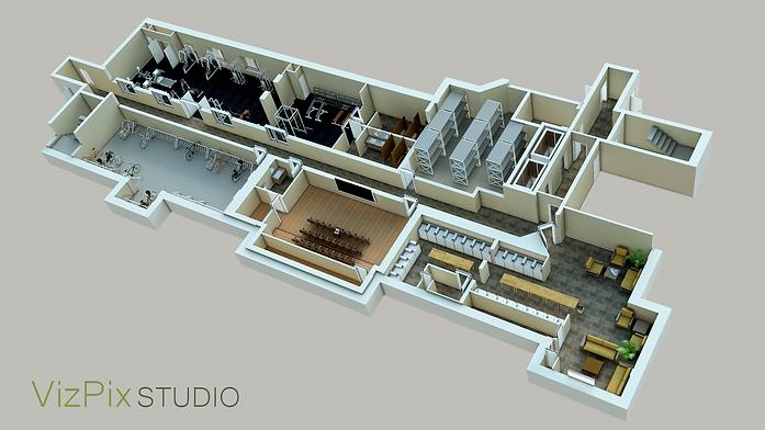 Basement 3D Floor Plan Rendering