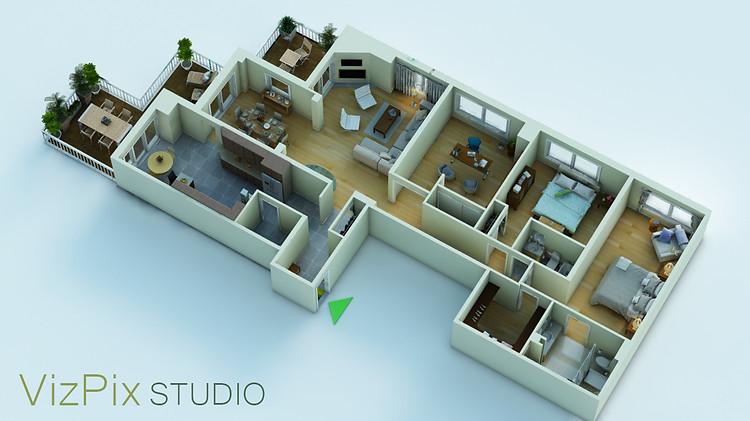 3D Floor Plan Rendering, City Condo