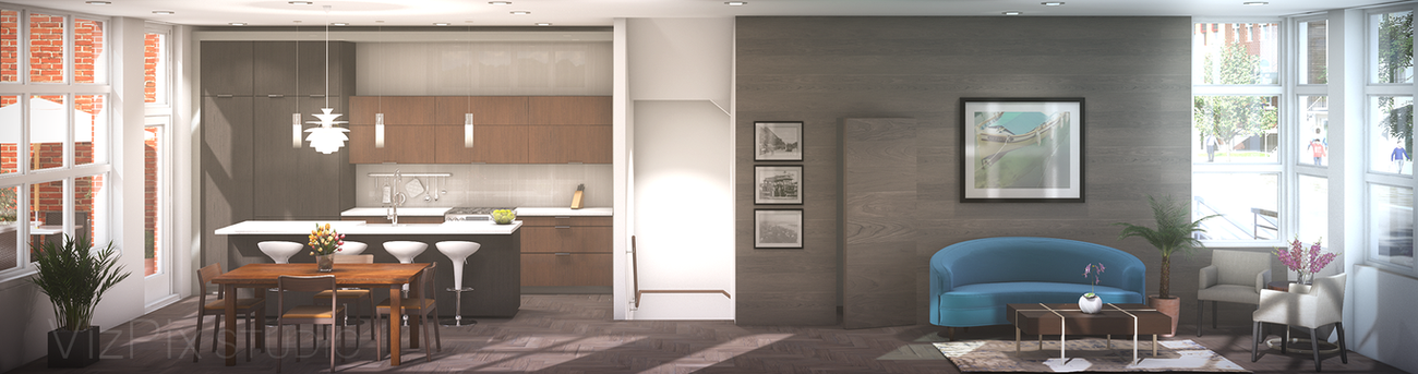 Interior Cutaway Rendering of a Kitchen and Living Room