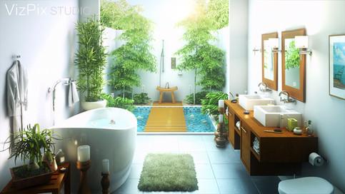 3D Bali Outdoor Bathroom Rendering