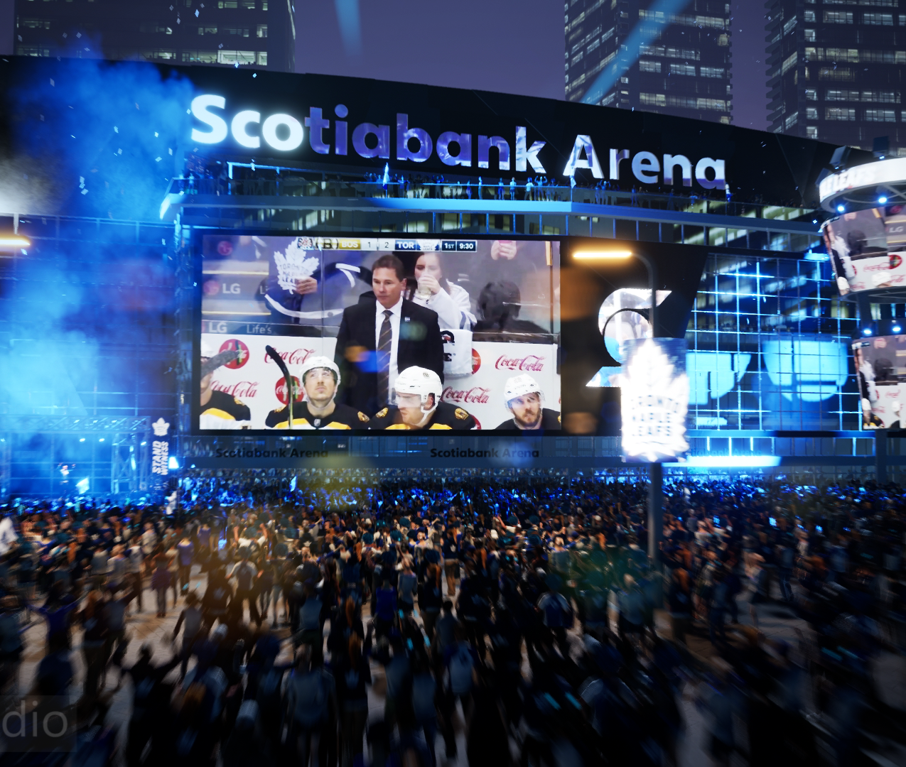 3D render of hockey arena during game night in Canada