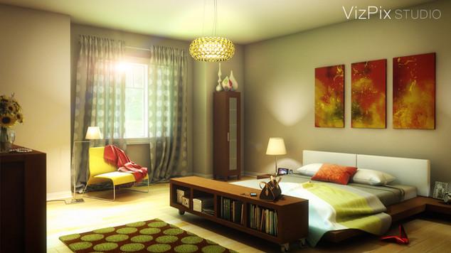 3D Rendering of Modern Bedroom