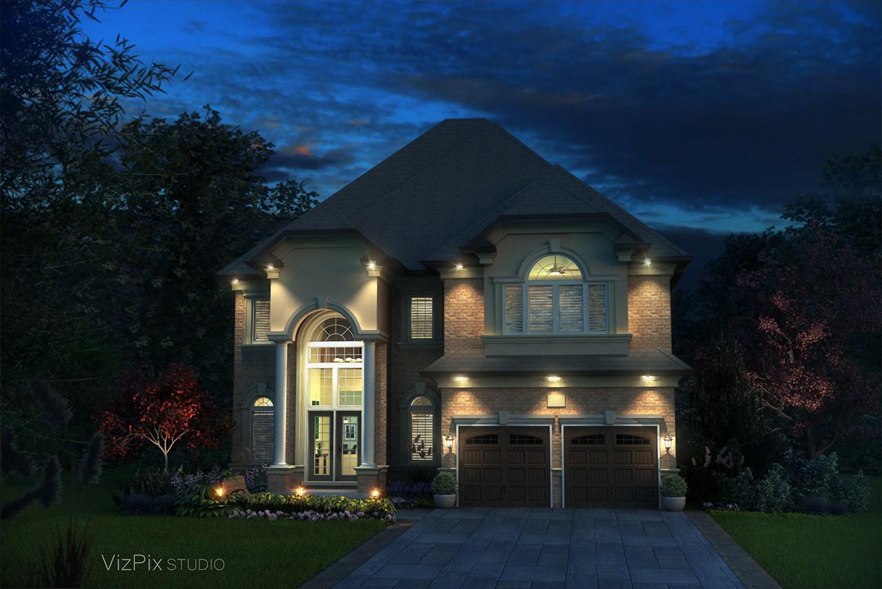 House Rendering Dusk Lighting