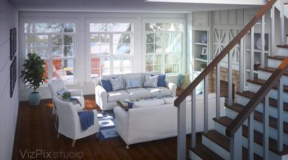 Muskoka Cottage Living Room Rendering