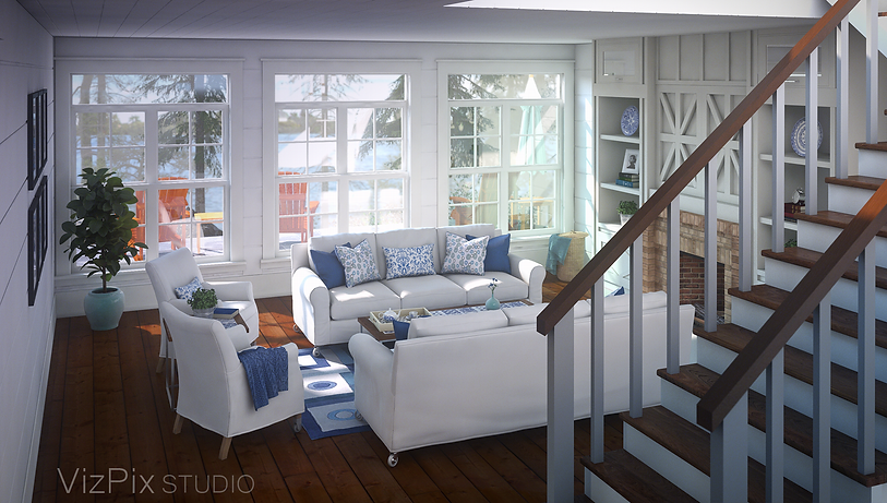Muskoka Cottage Living Room Rendering