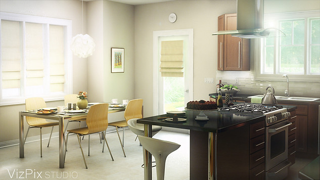 Modern Kitchen and Dinette Rendering