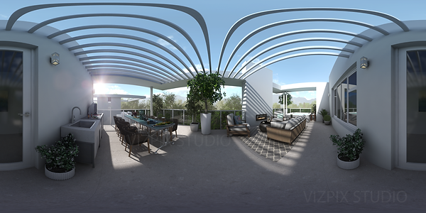 Vancouver roof top patio 360 panoramic rendering