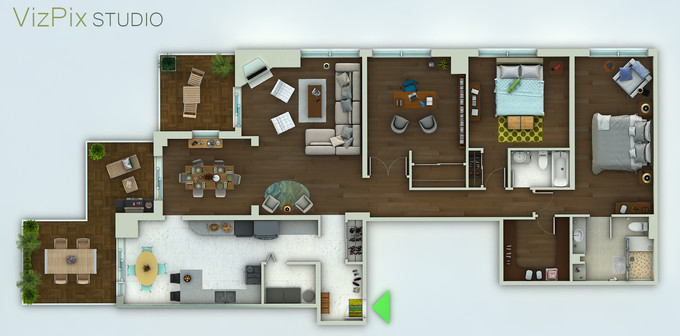 3D Floor Plan Render, Toronto Condo
