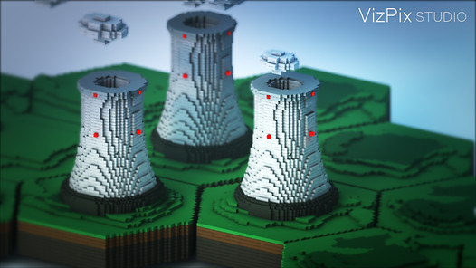 Stylized Render of Nuclear Power