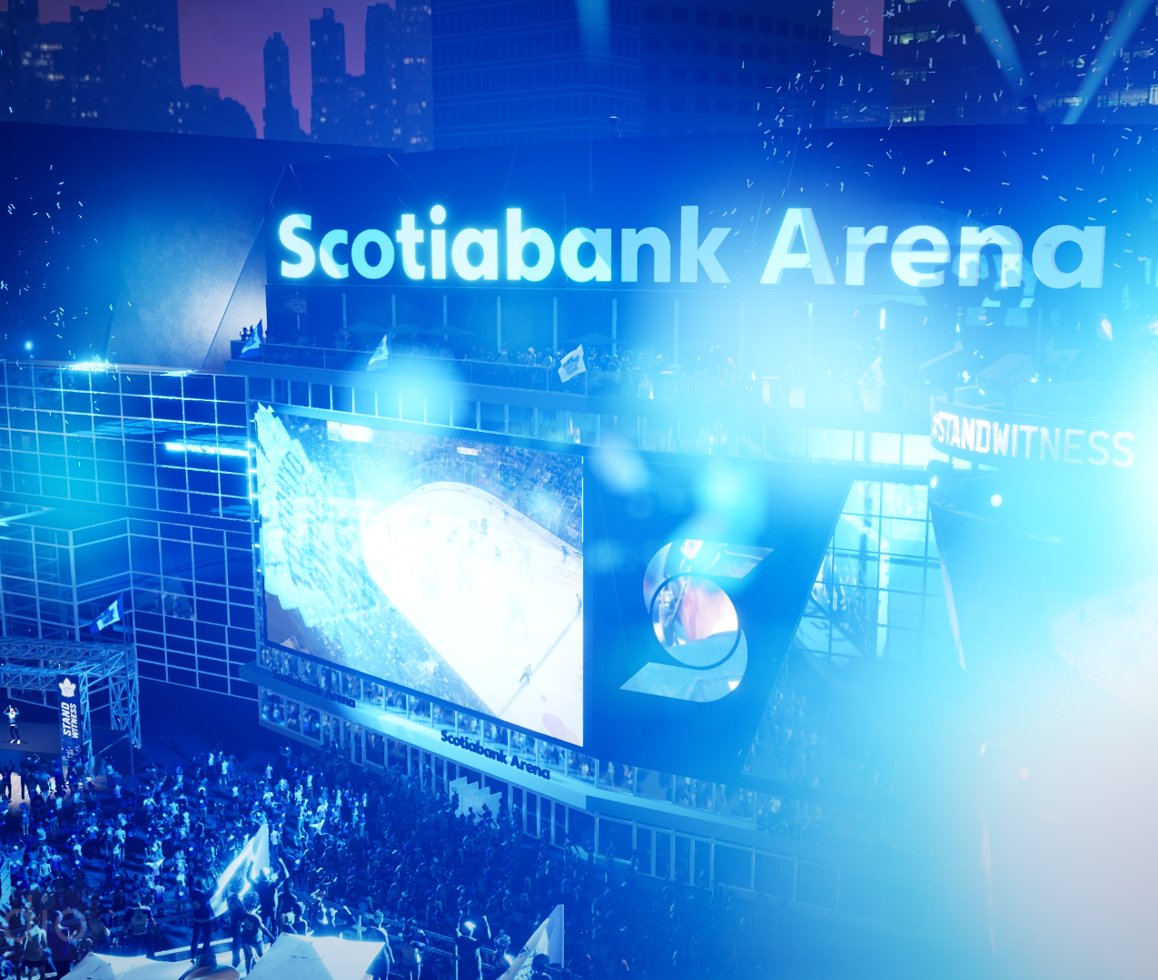 3D render of hockey and basketball arena during game night