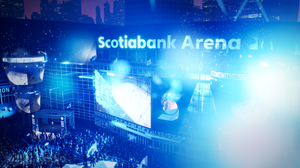 3D rendering and animation of hockey and basketball arena located in canda