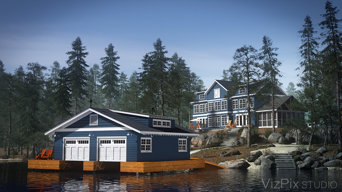 Cottage Boathouse Architectural Visualization
