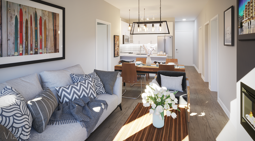 The Summit Living Room Render