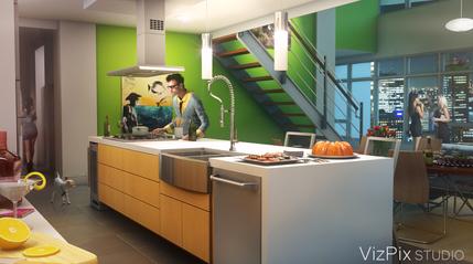 Modern Open Concept Loft Kitchen