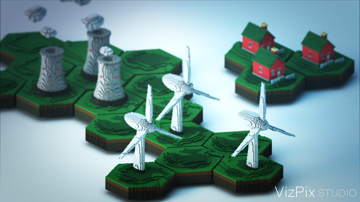 Stylized Render of Wind Turbines