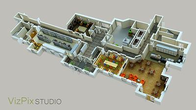 Amenities 3D Floor Plan Rendering