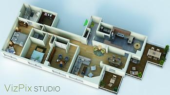 3D Isometric Floor Plan of TO Condo
