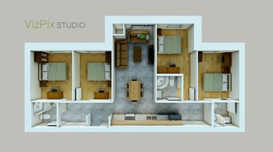 Apartment 3D Floor Plan Rendering