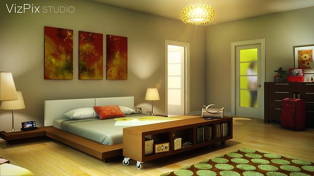 3D Rendering of Modern Condo Bedroom