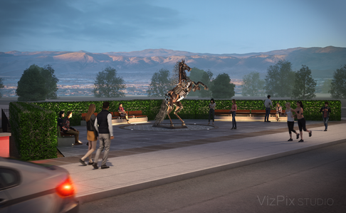 Rearing Horse Statue Neon Line District Visualization