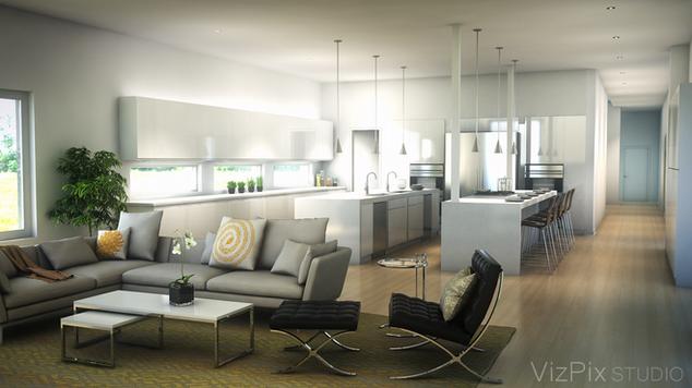 Modern Living Room Kitchen Visualization