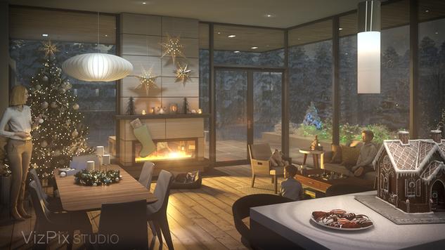 VizPix Studio Holiday Interior Rendering