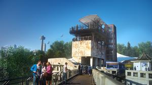 3D render of Attraction Ride in Niagara Falls Ontario